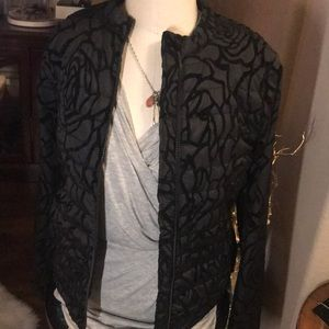 New Fabletics Black Floral Quilted Puffer Jacket